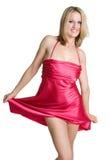 礼服红色妇女 免版税库存照片