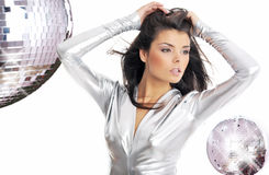 礼服魅力银色佩带的妇女 免版税库存图片