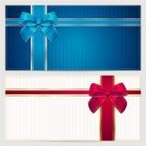 礼物证件/优惠券模板。 弓(丝带) 库存照片