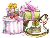 礼物和花水彩背景 免版税库存照片