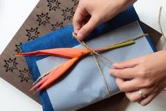 礼物在老师天设置了蓝色丝绸-越南丝绸 库存照片