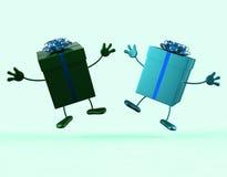 礼物展示买的给和接受礼物 免版税库存图片