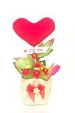 礼物心形篮子的花 免版税图库摄影