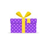 礼物或当前箱子有黄色丝带和弓的 免版税库存图片