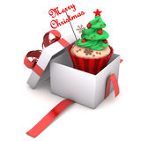 礼物杯形蛋糕圣诞快乐 库存照片