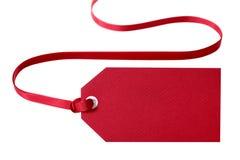 礼物标记,红色,隔绝在白色 免版税库存照片