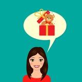 礼物的女孩梦想 也corel凹道例证向量 库存例证