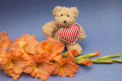 礼物的概念女孩的-逗人喜爱的玩具和花 库存照片