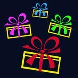 礼物的汇集在黑背景的 库存图片