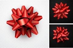 礼物的现实红色弓 向量例证