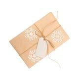 礼物盒与标记的牛皮纸的在白色背景的文本 免版税图库摄影