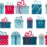 礼物盒假日无缝的样式背景 免版税库存图片