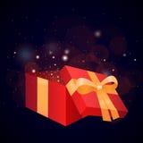 礼物盒和闪闪发光的例证 库存图片