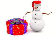 礼物盒和雪人 免版税库存图片