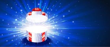礼物盒开放烟花爆炸不可思议的光线背景Chr 皇族释放例证