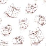 礼物盒无缝的样式 库存图片