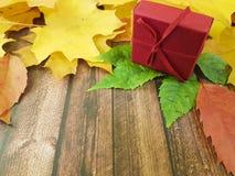 礼物盒木板框架11月设计 图库摄影