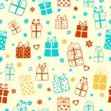 礼物盒的无缝的样式 免版税库存照片