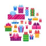 礼物盒的汇集在白色隔绝的 向量例证