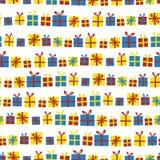 礼物盒连续无缝的传染媒介样式 与丝带的礼物红色,黄色和蓝色在白色背景 伟大为生日 向量例证