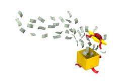 从礼物盒飞溅的美元银行 库存图片