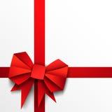 礼物纸红色弓和丝带 库存例证