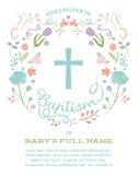 洗礼,洗礼仪式,与发怒和花卉边界的第一块圣餐邀请模板 免版税库存图片