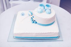 洗礼仪式蛋糕 免版税库存照片