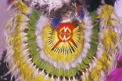 礼仪玉米舞的美国本地人头饰,圣克拉拉镇, NM 免版税库存图片