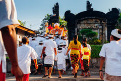 礼仪队伍,巴厘岛,印度尼西亚 免版税库存照片