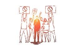 社会动荡活广播,电视新闻记者,对应的举行的话筒,有招贴的抗议者 皇族释放例证