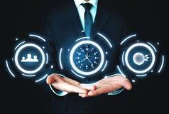 社会媒介、时间安排和目标成就 事务c 库存照片