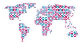 社会媒介喜欢和心脏标志以世界地图形式 SEO,SMM概念 也corel凹道例证向量 皇族释放例证