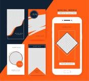 社会媒介故事模板集合 社会媒介的时髦背景,智能手机应用程序 向量例证