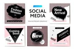 社会媒介机动性apps的现代促进正方形网横幅 网上购物的典雅的时尚电视节目预告横幅与抽象p 免版税库存图片