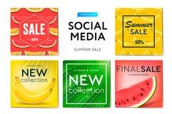 社会媒介模板夏天销售、用途品牌的和博客作者,现代促进网横幅社会媒介机动性apps的 库存例证