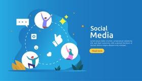 社会媒介网络和influencer概念与年轻人字符在平的样式 网着陆页的例证模板 库存例证