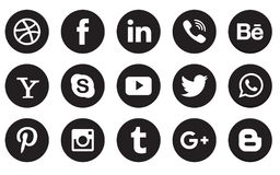 社会媒介象汇集按钮 库存照片
