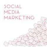 社会媒介象 概念社会营销媒体 落逆评论朋友通知 胸部丰满 库存例证