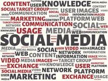 社会媒介-与词的图象联合题目社会媒介,词,图象,例证 免版税库存照片