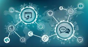 社会媒介/移动通信/全球性网络概念–传染媒介例证 库存例证