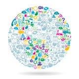 社会媒体世界颜色 免版税库存照片