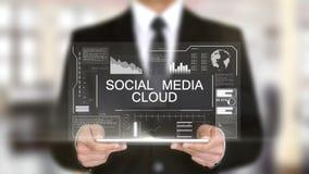 社会媒介云彩,全息图未来派接口概念,被增添的虚拟现实 影视素材