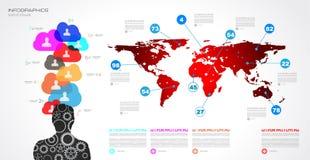 社会媒介和云彩概念Infographic背景 库存图片