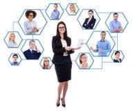 社会媒介和国际企业概念-年轻事务 免版税库存图片