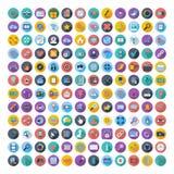 社会媒介和网络颜色平的象 免版税库存图片
