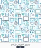 社会媒介墙纸 网络通信无缝的样式 免版税库存图片