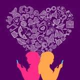 社会媒介女同性恋的爱互联网象概念 库存例证