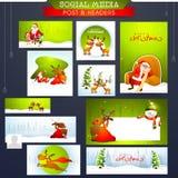 社会媒介岗位和倒栽跳水圣诞快乐的 免版税图库摄影