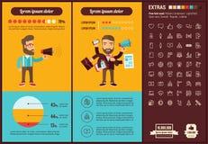 社会媒介平的设计Infographic模板 免版税库存图片